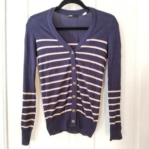 Urban Outfitters Navy & Cream Striped Cardigan